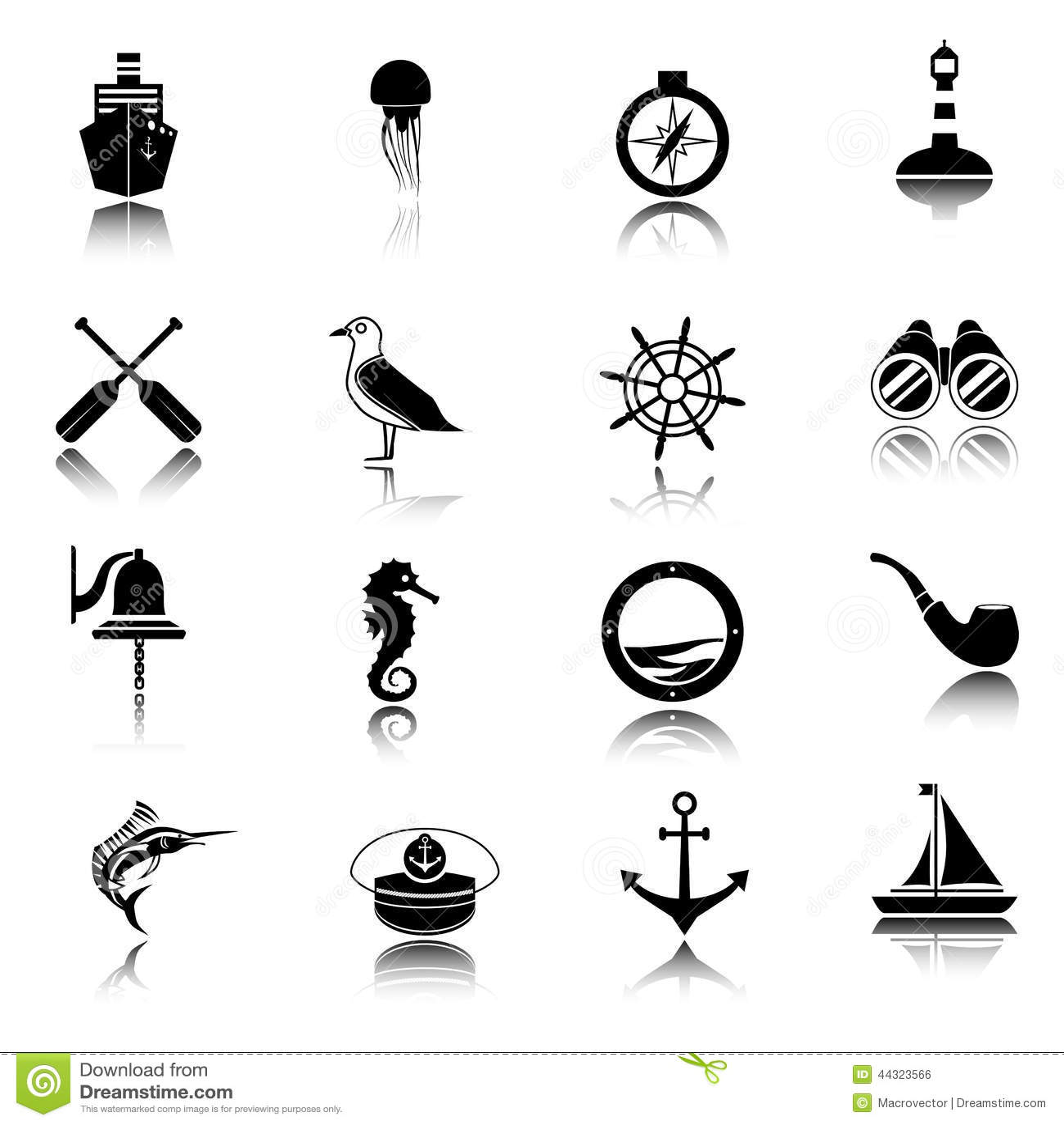 Nautical Icons Set Black Stock Vector