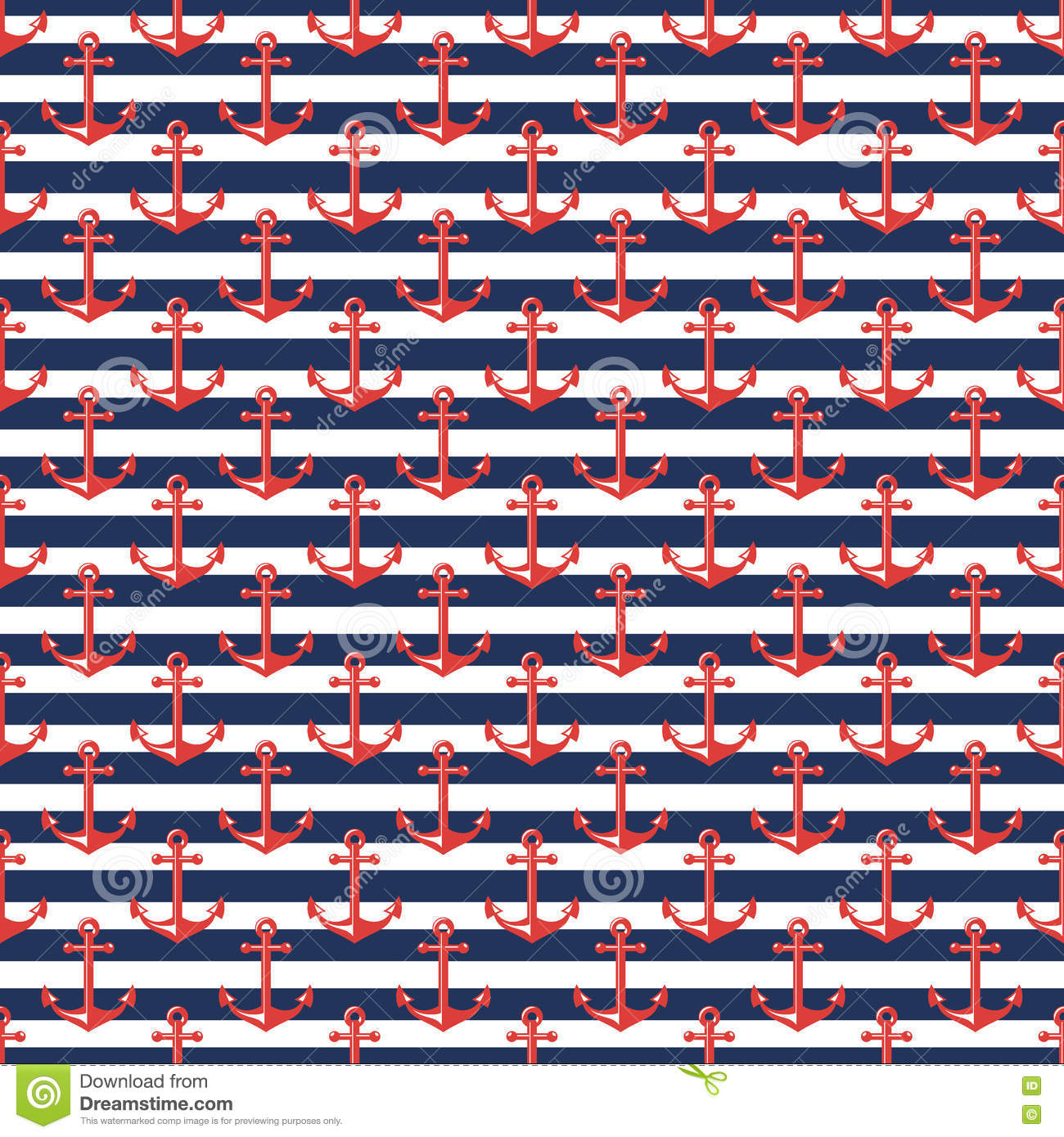 Nautical Striped Pattern With Anchors Stock Vector