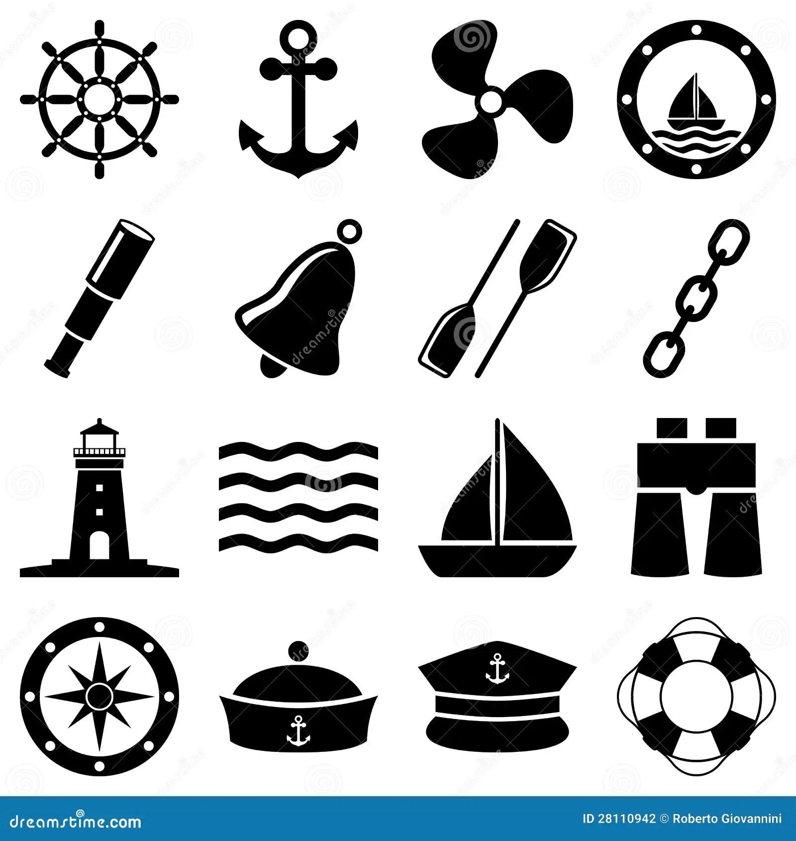Nautiska Svartvita Symboler Vektor Illustrationer