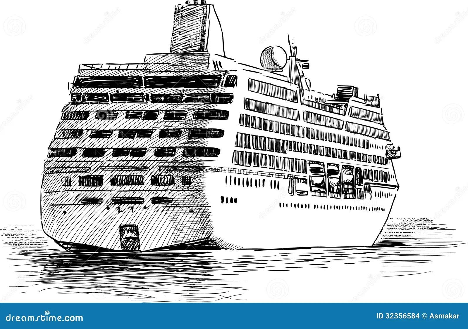 Nave Da Crociera Di Partenza Illustrazione Vettoriale