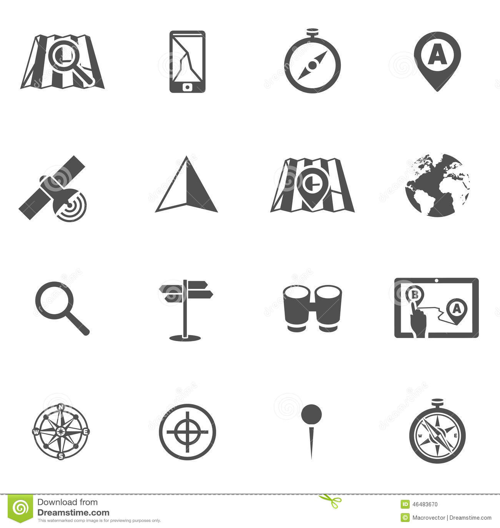 Navigation Icon Black Set Stock Vector Illustration Of