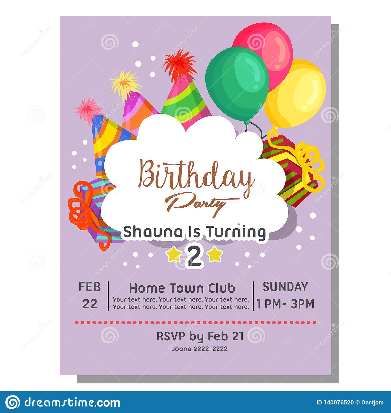 https www dreamstime com nd birthday party invitation card hat balloon present colorful nd birthday party invitation card hat balloon present image140076520