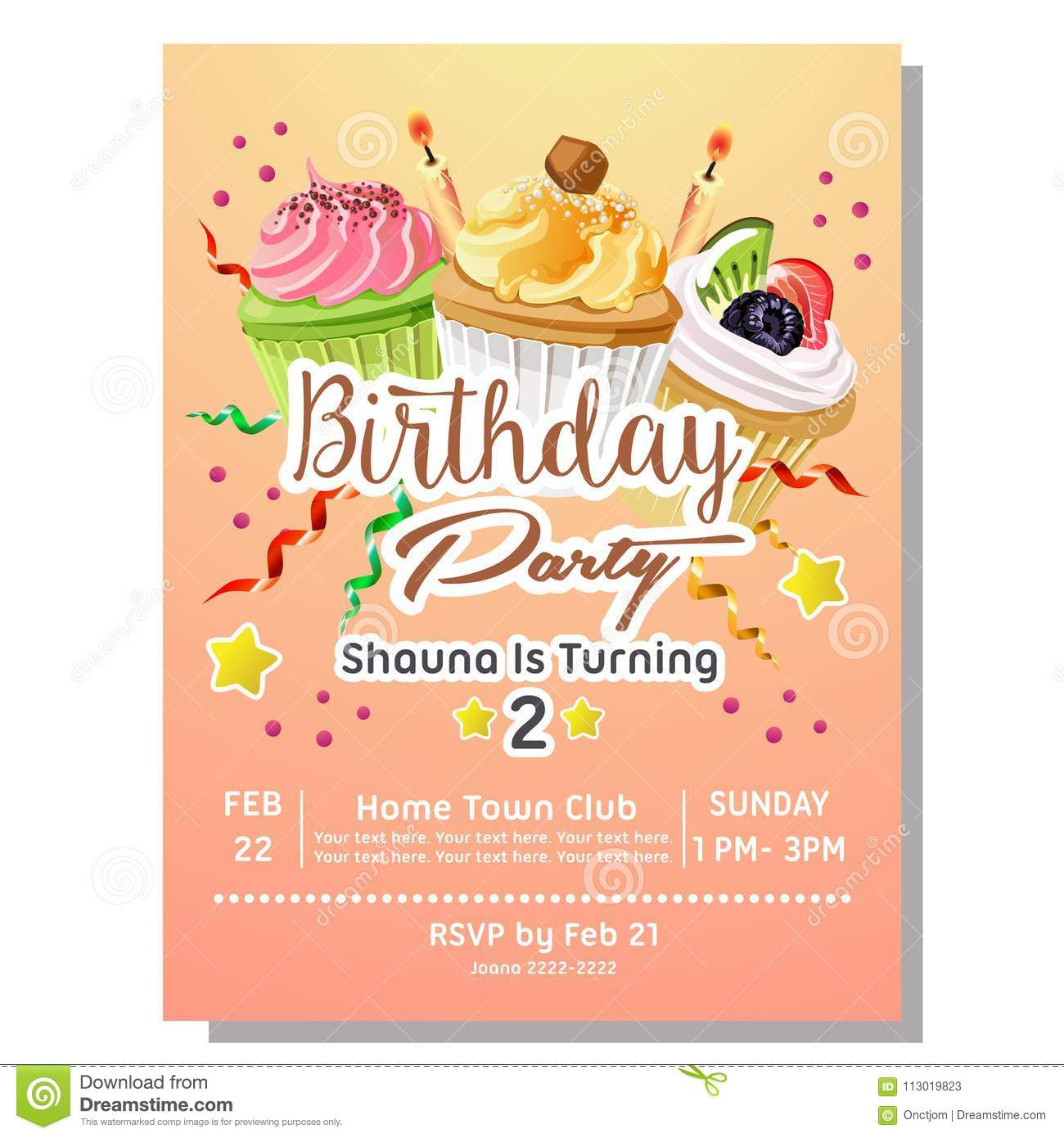 https www dreamstime com nd birthday party invitation card template delicious cupcakes nd birthday party invitation card delicious cupcakes image113019823