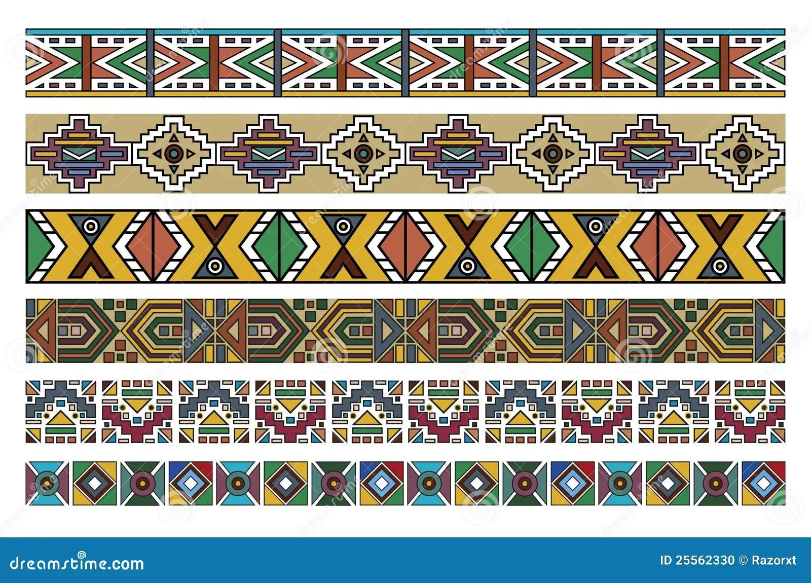 Ndebele African Border Pattern Art Stock Illustrations 3