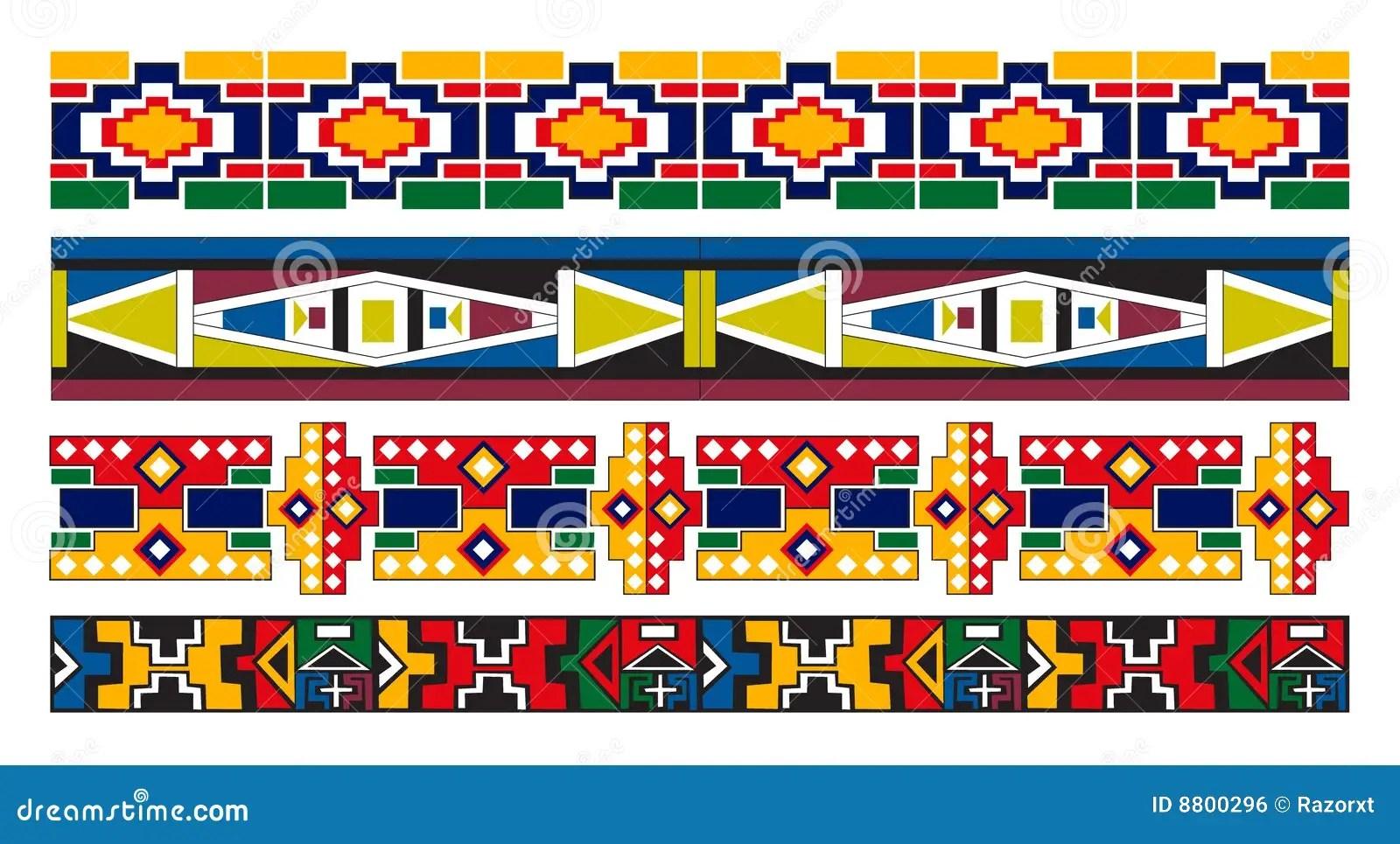 Ndebele Afrikanische Rand Muster Kunst Vektor Abbildung