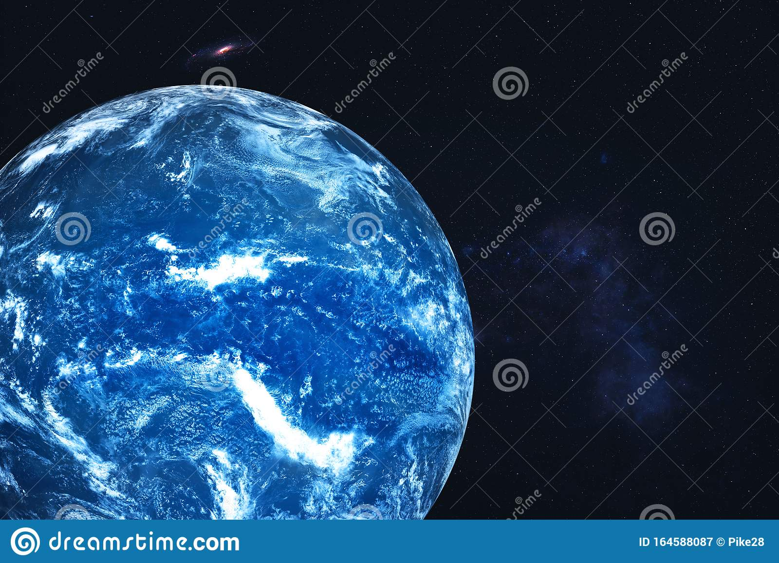 Neptune Planet Of Solar System With White Atmosphere In