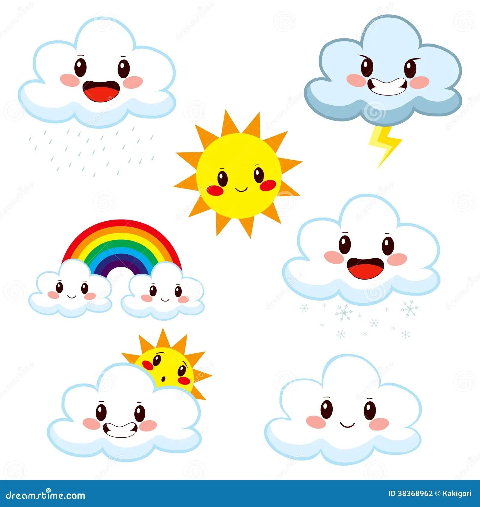 Nette Wetter Element Sammlung Vektor Abbildung