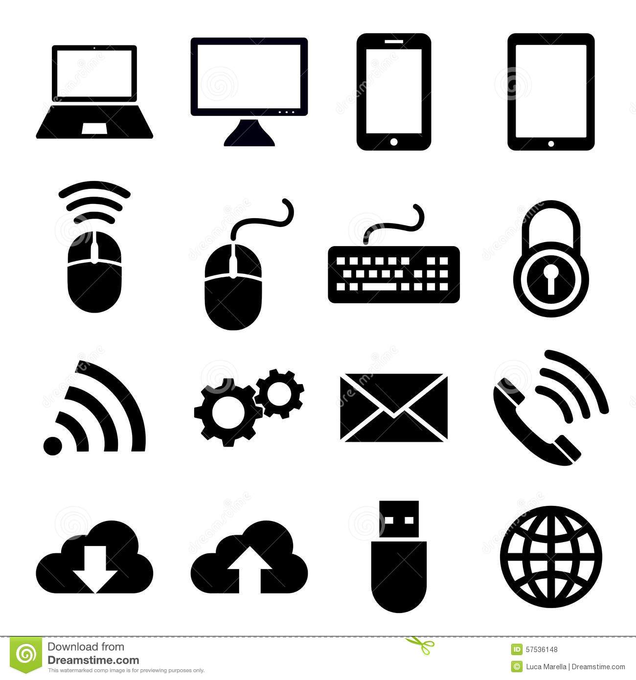 Network And Mobile Devices Icons Stock Vector