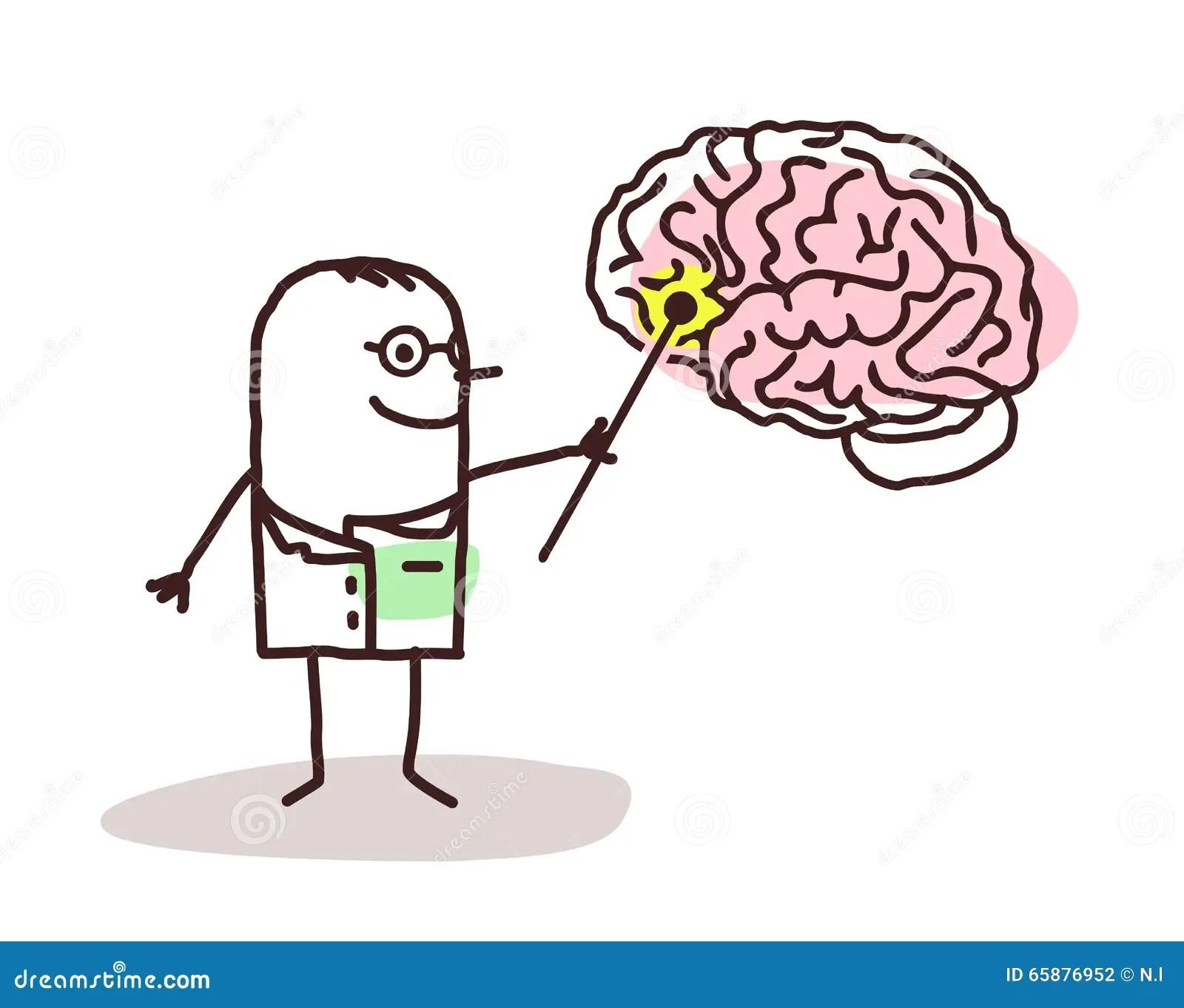 Neurologista Dos Desenhos Animados Com Cerebro Ilustracao