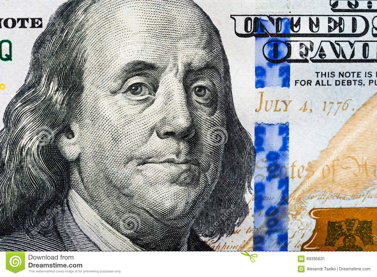 The New 100 Dollar Bill Close Up Franklin S Face Stock