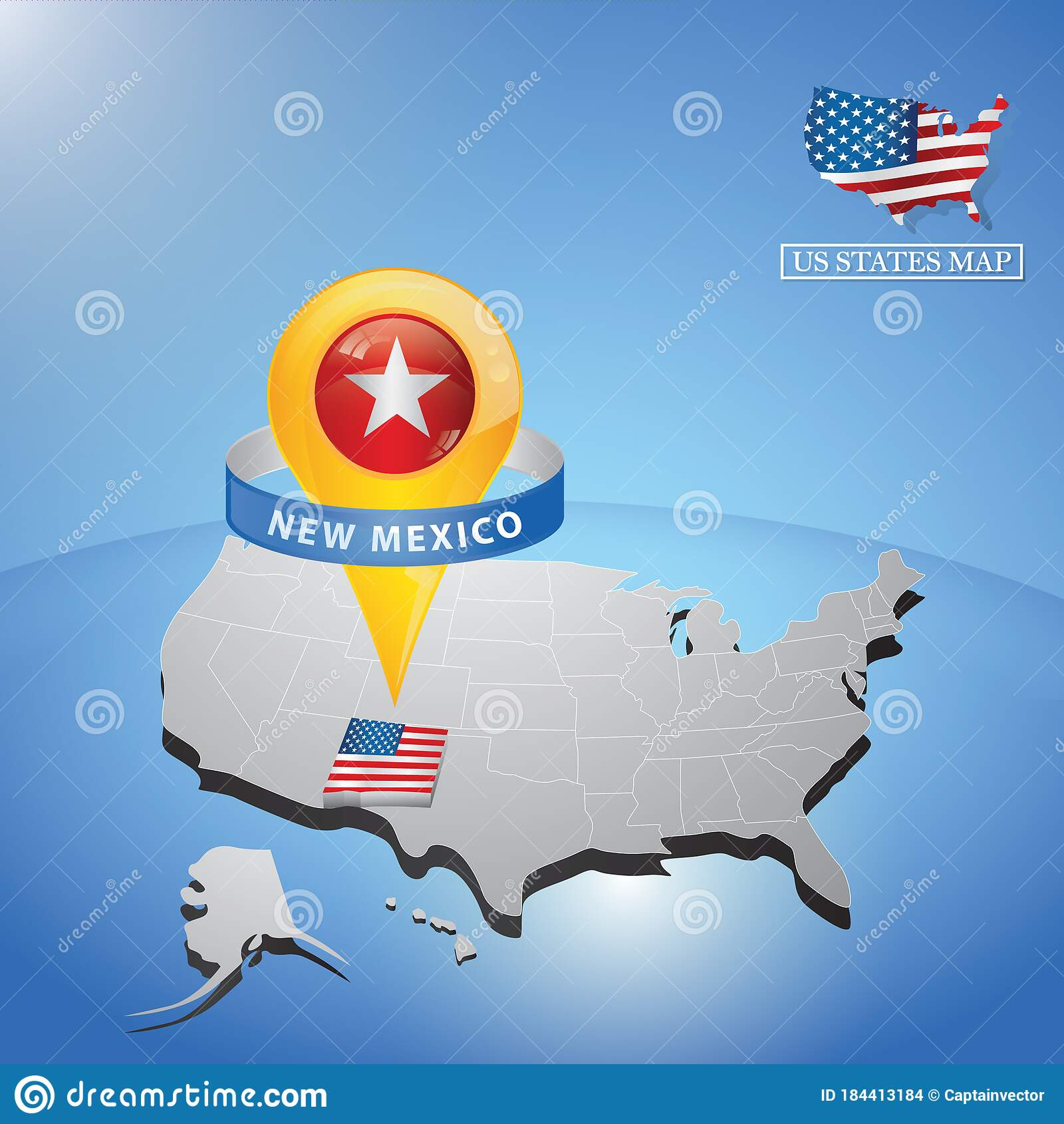 New Mexico State On Map Of Usa Vector Illustration