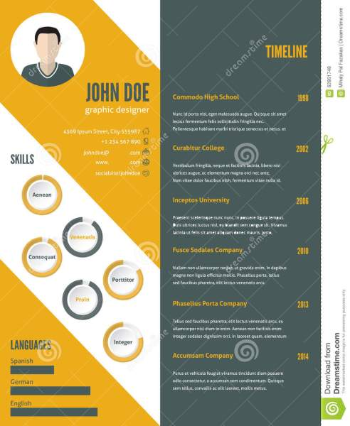 New Modern Resume Cv Template With Photo Stock Vector   Illustration     Download comp
