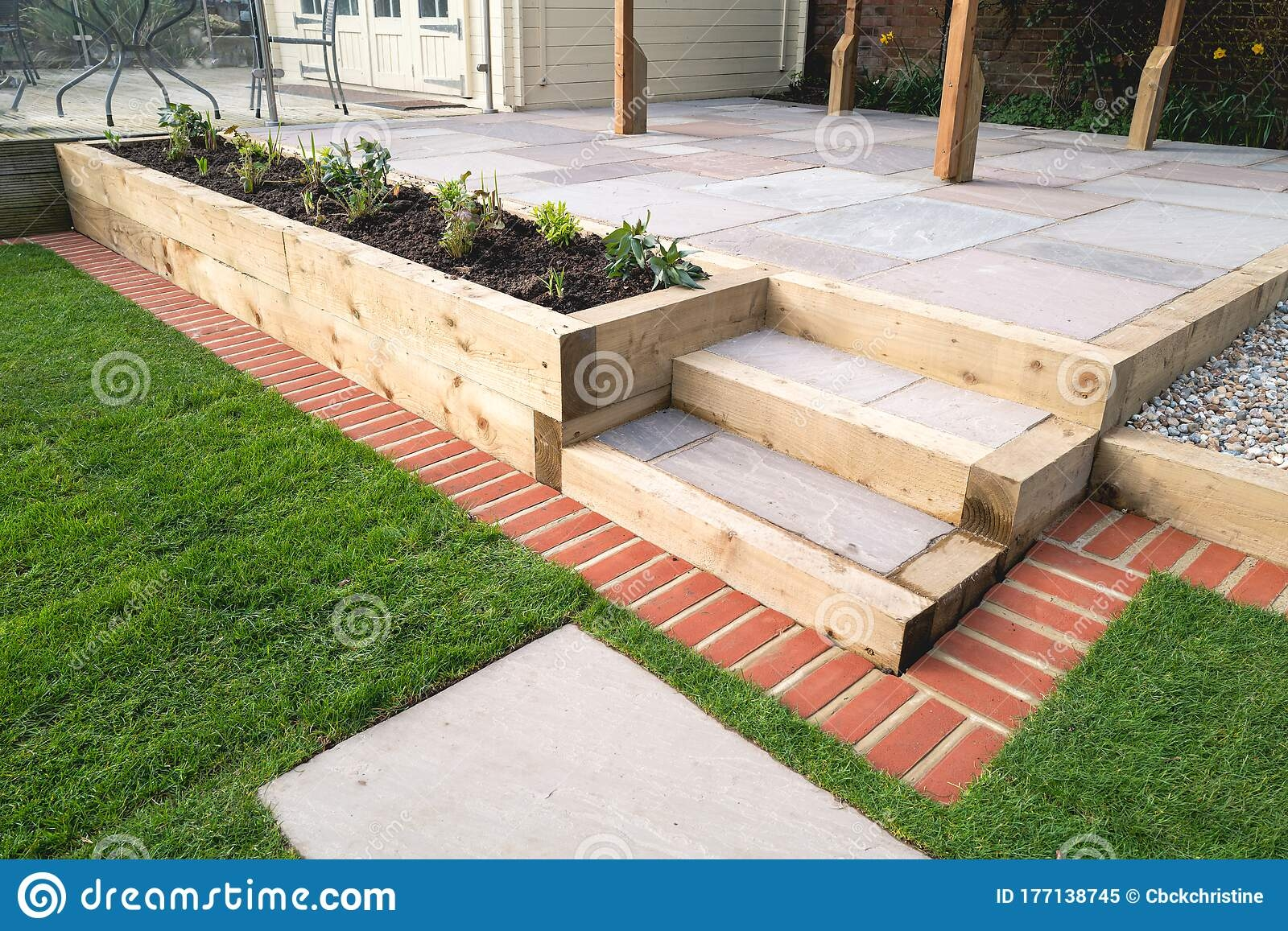 New Steps In A Garden Or Back Yard Leading To A Raied Patio | Patio With Steps To Garden | Sl*P* | Pinterest | Lighting | Balustrade | Contemporary