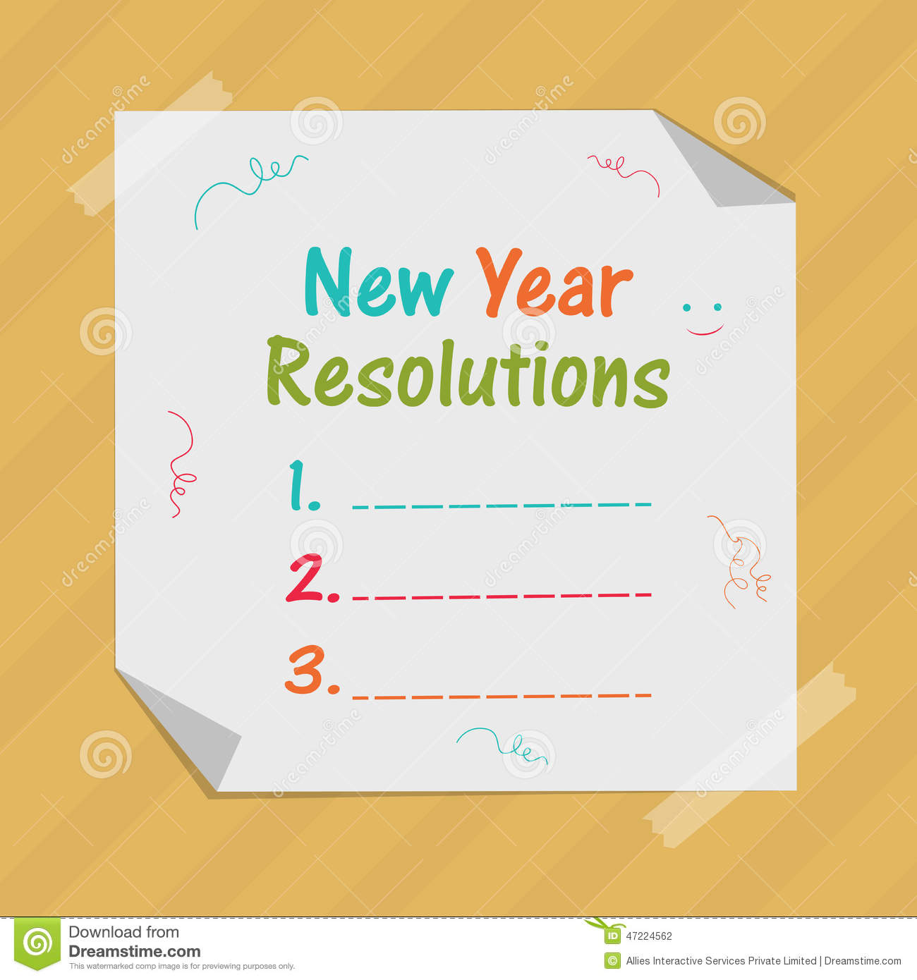 New Year Celebration With Resolution Stock Illustration
