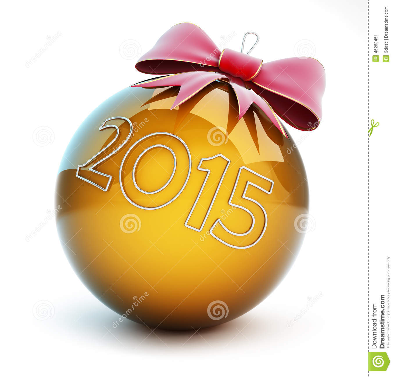 New Year 2015 Christmas Glass Ball Red Bow Stock