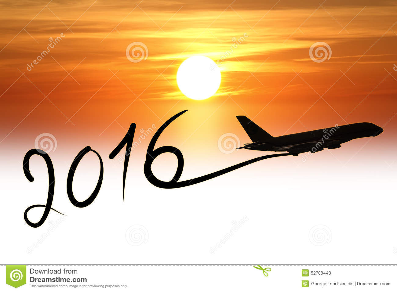 New Year 2016 Drawing By Airplane Stock Photo Image