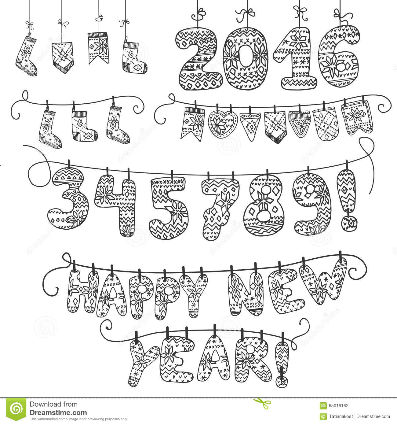 Christmas Calendaritted Letters Hanging On Rope Cartoon