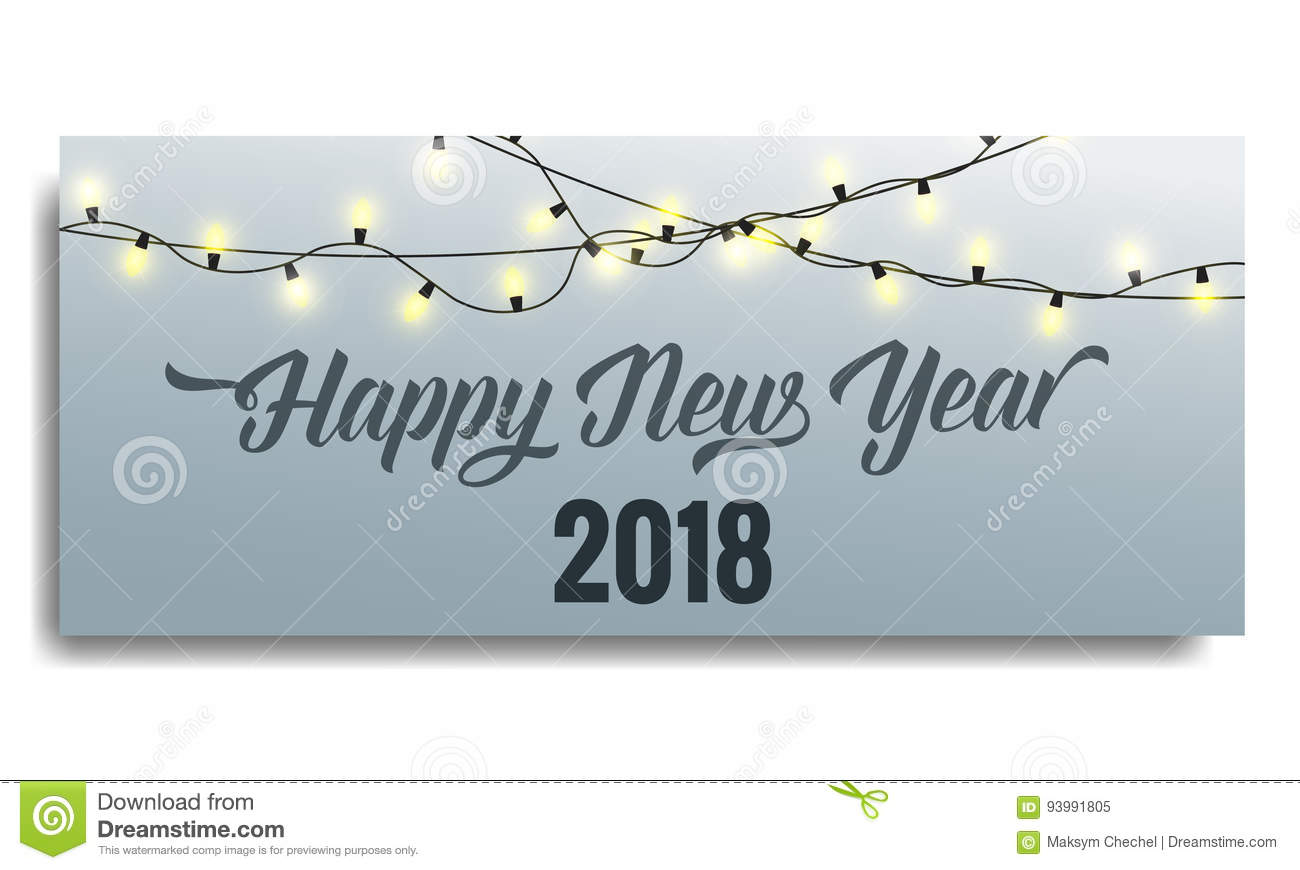New Year 2018 Invitation  Card Template With Glowing Garlands And     Download New Year 2018 Invitation  Card Template With Glowing Garlands And  Typography  Happy New