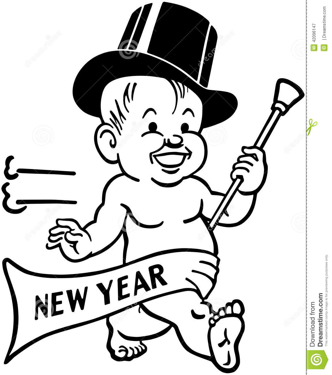 New Year S Baby Stock Vector Illustration Of Diapers