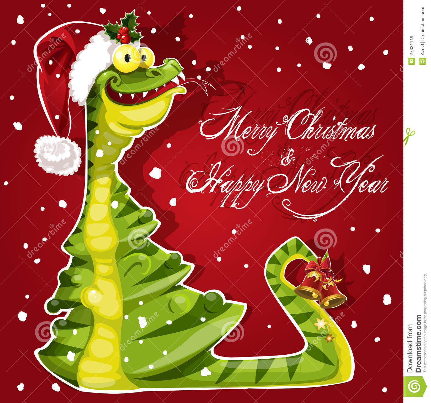 New Year Snake Ate A Christmas Tree Banner On Red Royalty