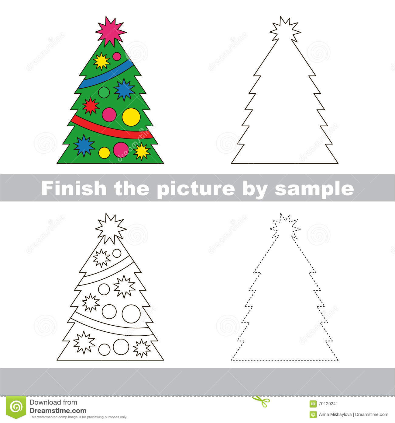 New Year Tree Drawing Worksheet Stock Vector