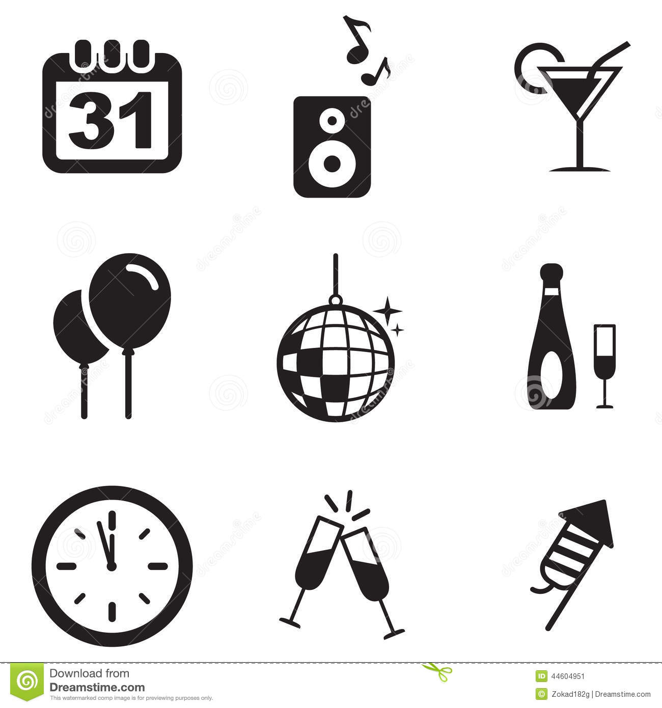 New Years Eve Icons Stock Vector