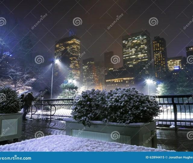 New York Central Park Skate Rink In Christmas Snow