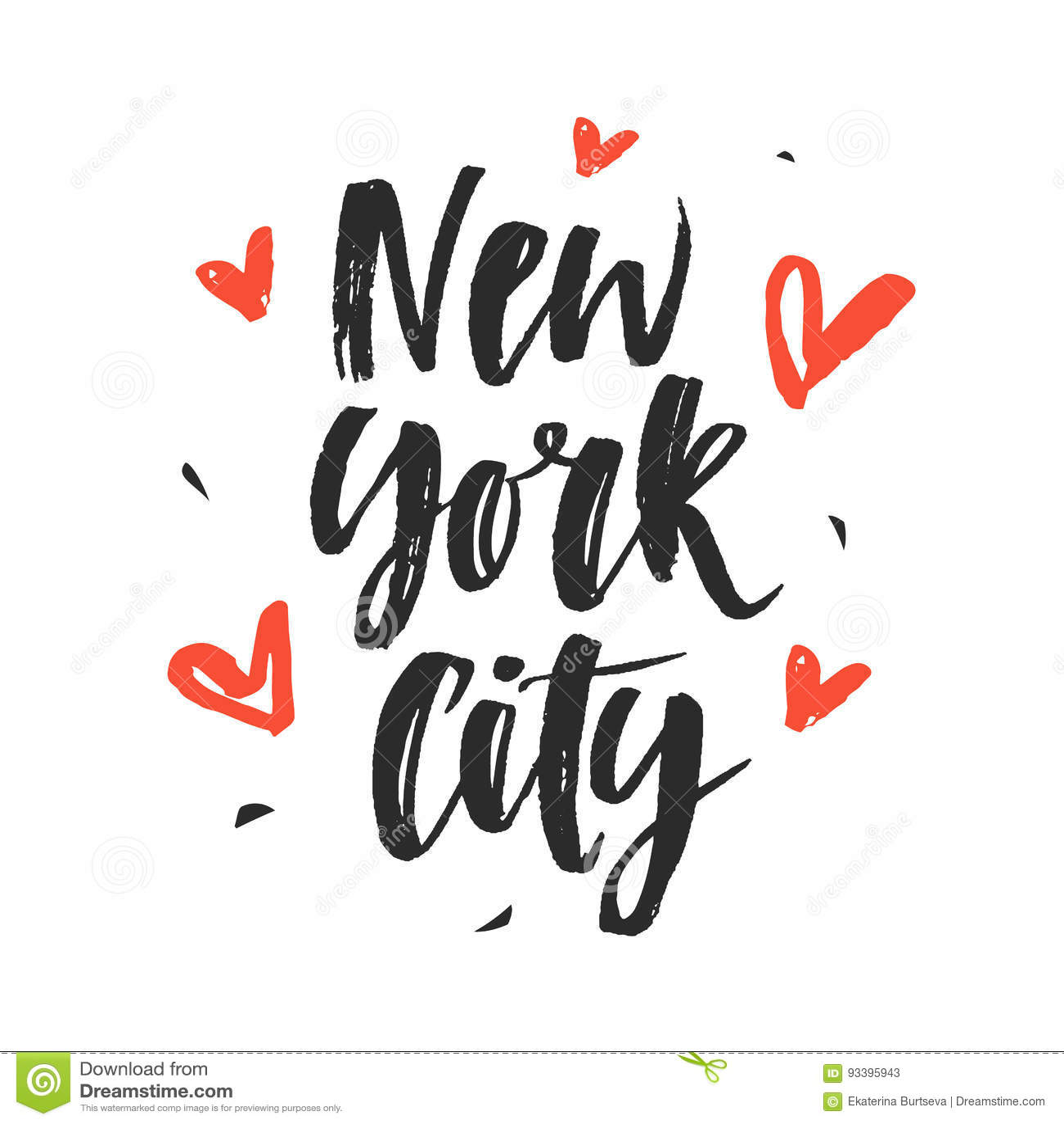 New York City Modern Hand Written Brush Lettering Stock