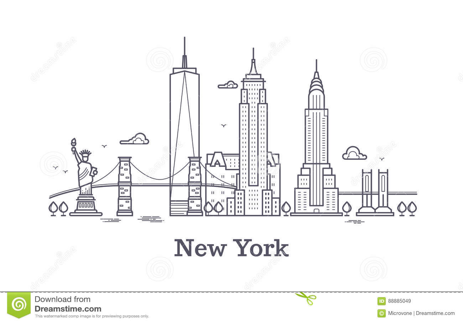 New York Cityentwurfsskyline Nyc Linie Schattenbild Usa