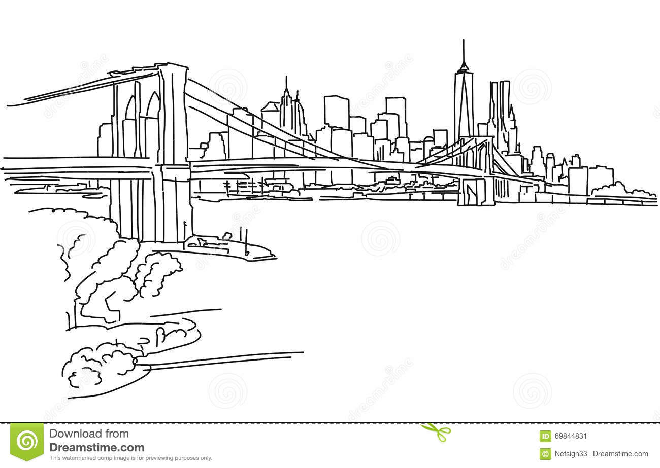 Hand Drawn Brooklyn Bridge And Buildings Vector