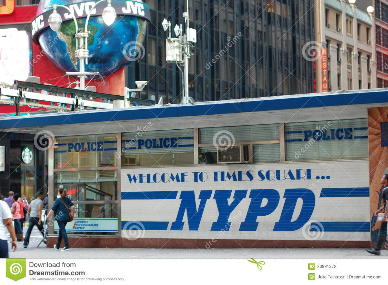 New York Police Department Station In Times Square