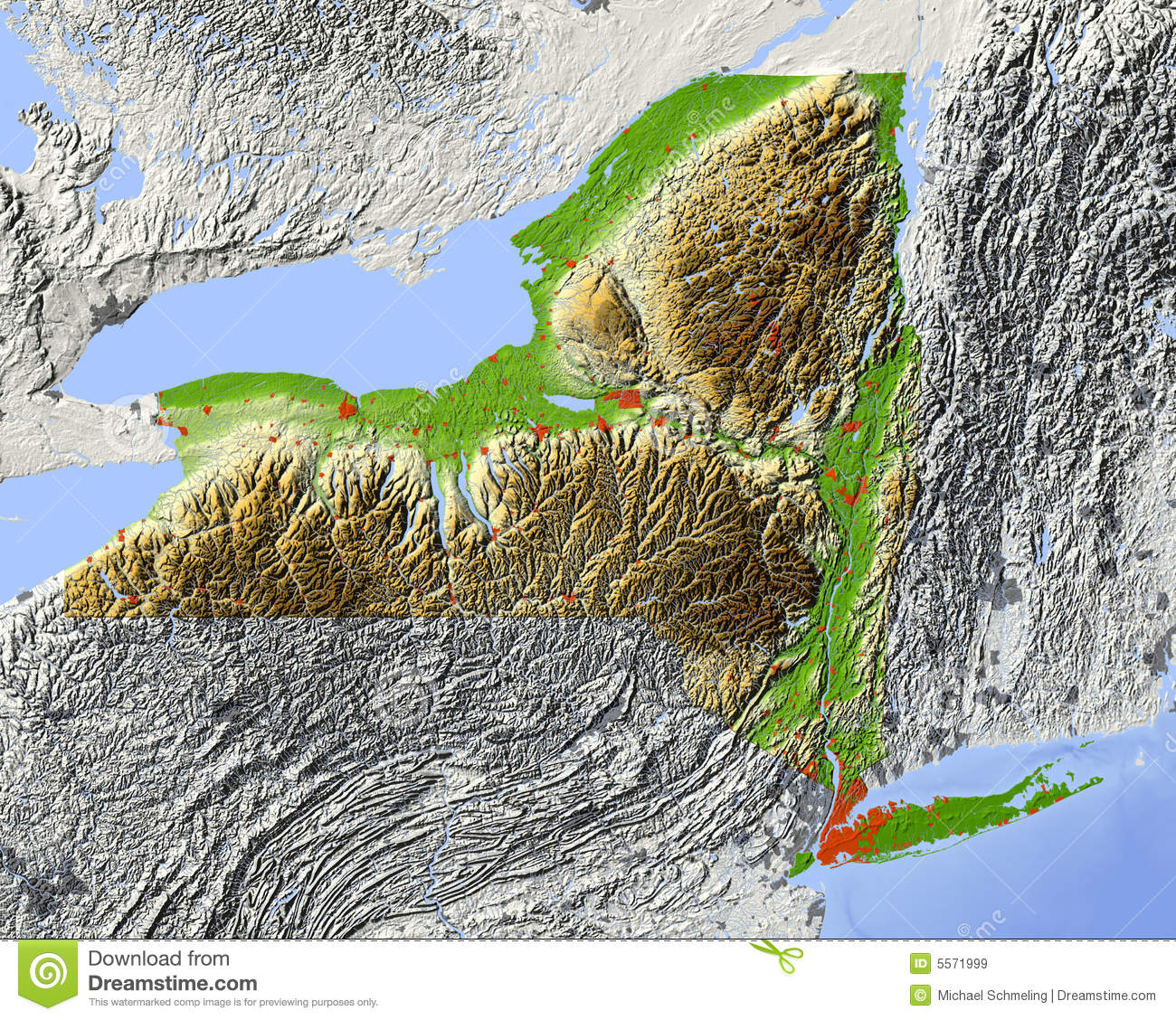 New York Relief Map Of State Stock Illustration
