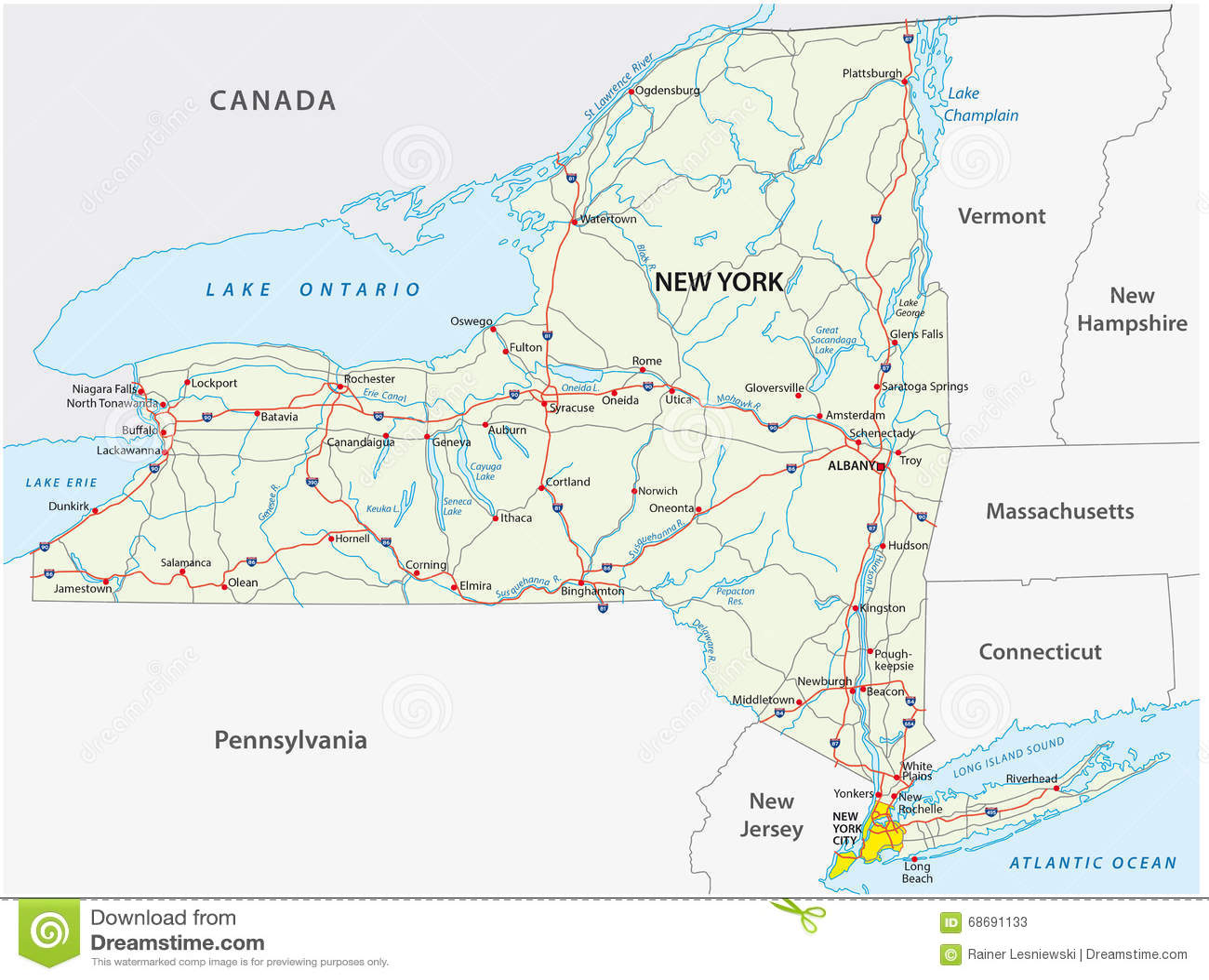 New York State Road Map Stock Illustration Illustration
