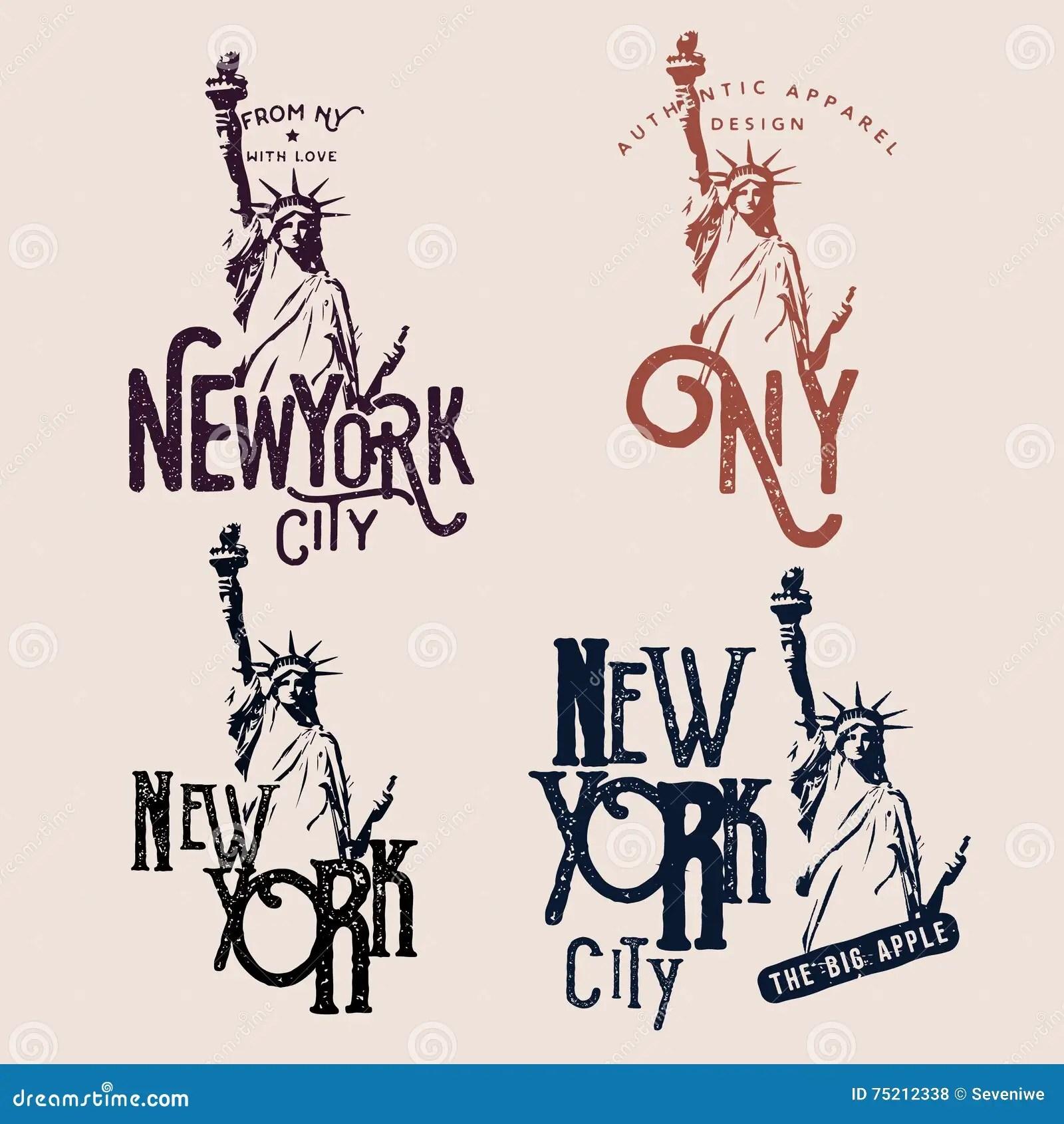 New York Themed Badges Stock Vector Illustration Of