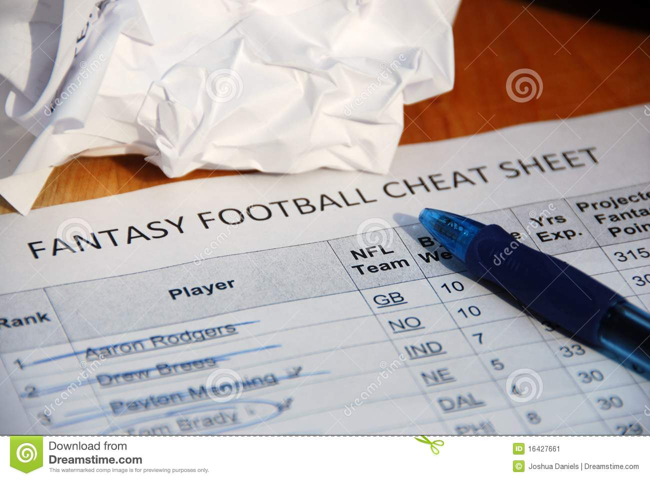 NFL Fantasy Football Draft Cheat Sheet Stock Image Image