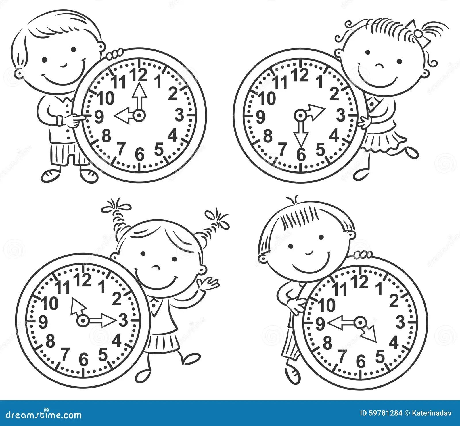 Ninos Que Dicen El Sistema Del Tiempo Ilustracion Del Vector