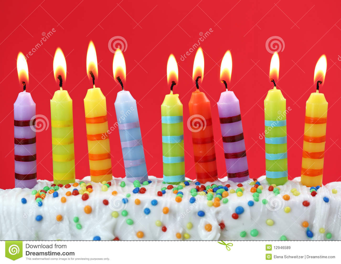 Nine Birthday Candles Royalty Free Stock Images Image