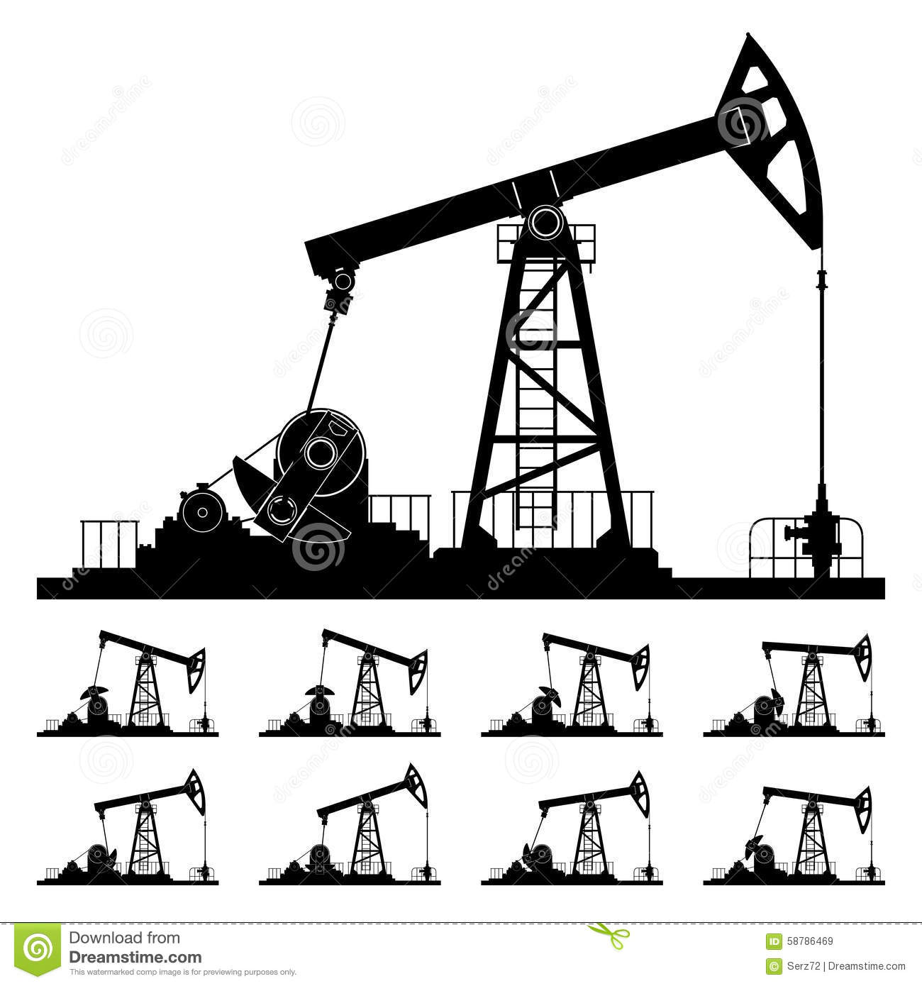 Pumpjack And Working Oil Pumps And Drilling Rig Oil Pump