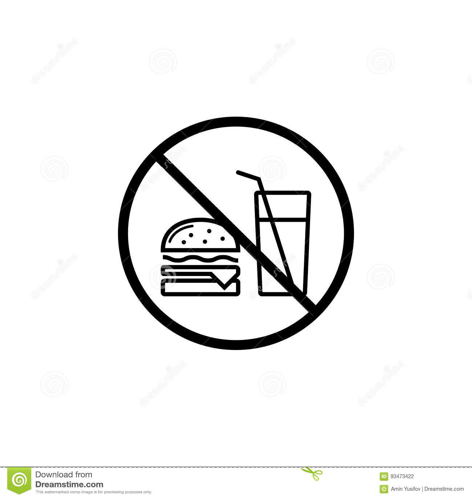 No Fast Food Prohibition Sign Vector Label Cartoon