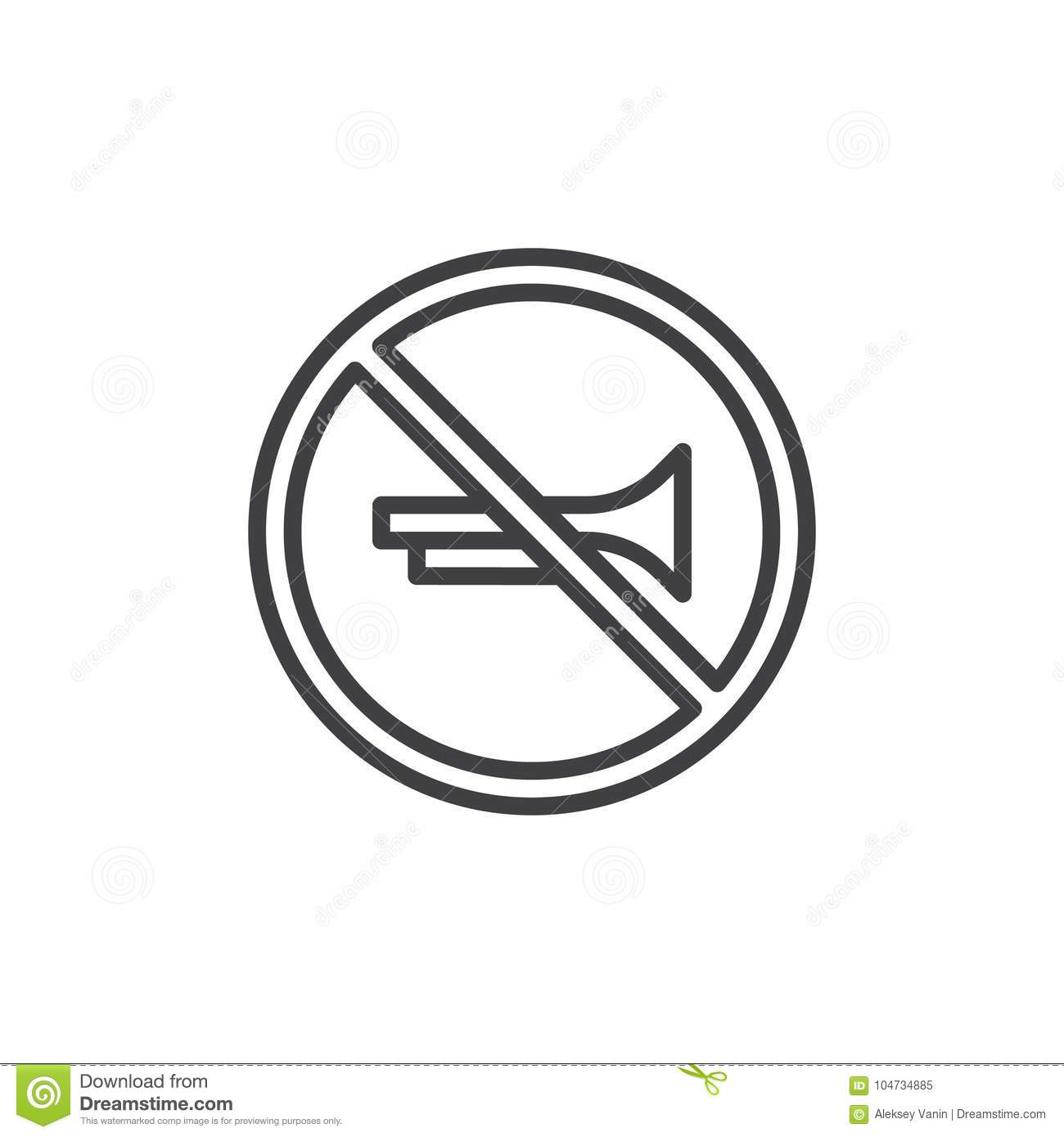 No Horn Prohibited Road Signs Line Icon Stock Vector