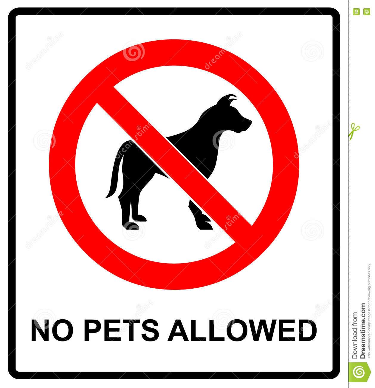 No Pet Allowed Sign Illustration Vector No Dogs Please