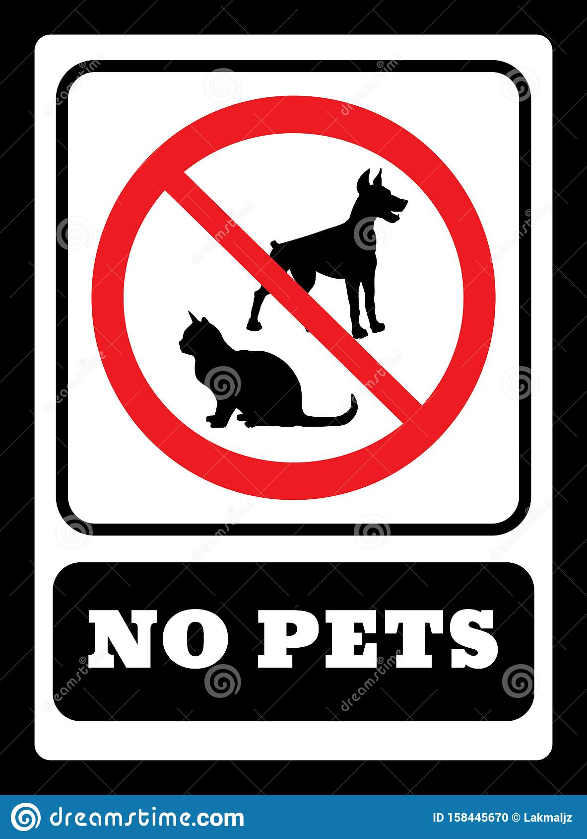 No Pets Sign Pets Are Not Allowed Icon Stock Vector