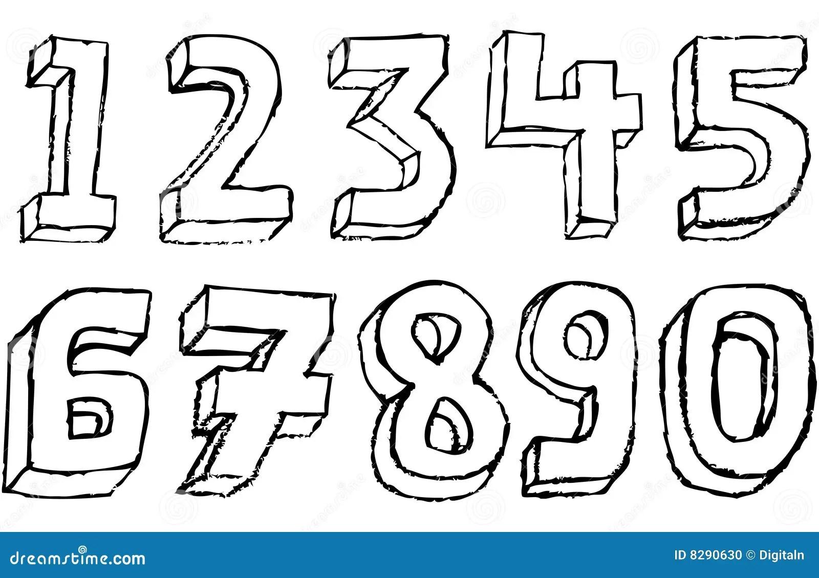 Nombres 3d Grunges En Noir Et Blanc Illustration Stock