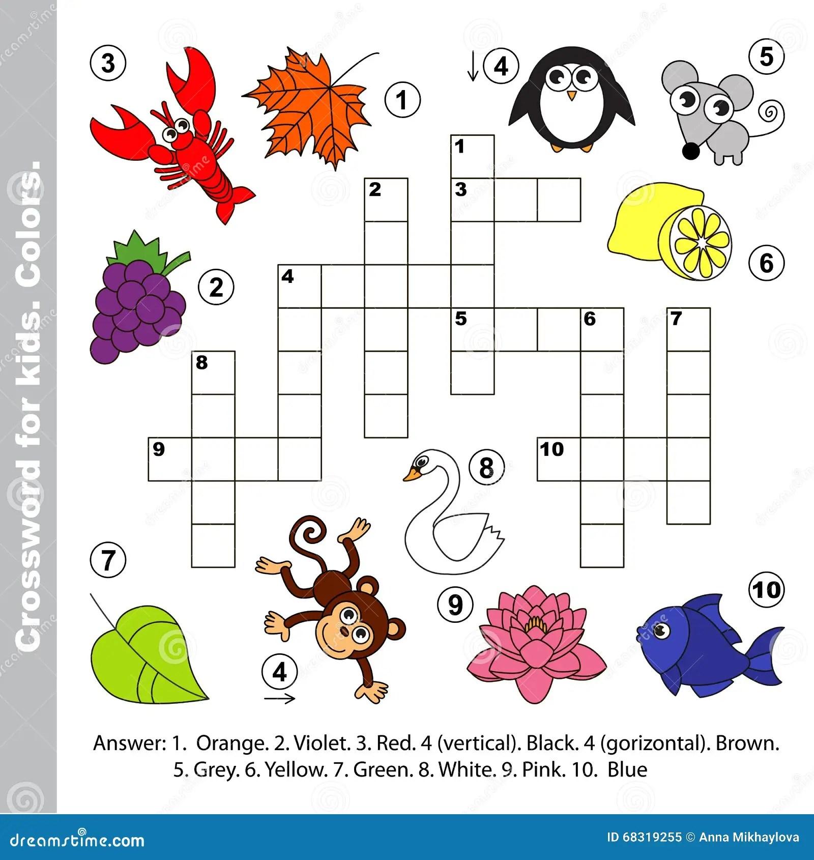 Nombres Del Color Crucigrama Para Los Ninos Ilustracion