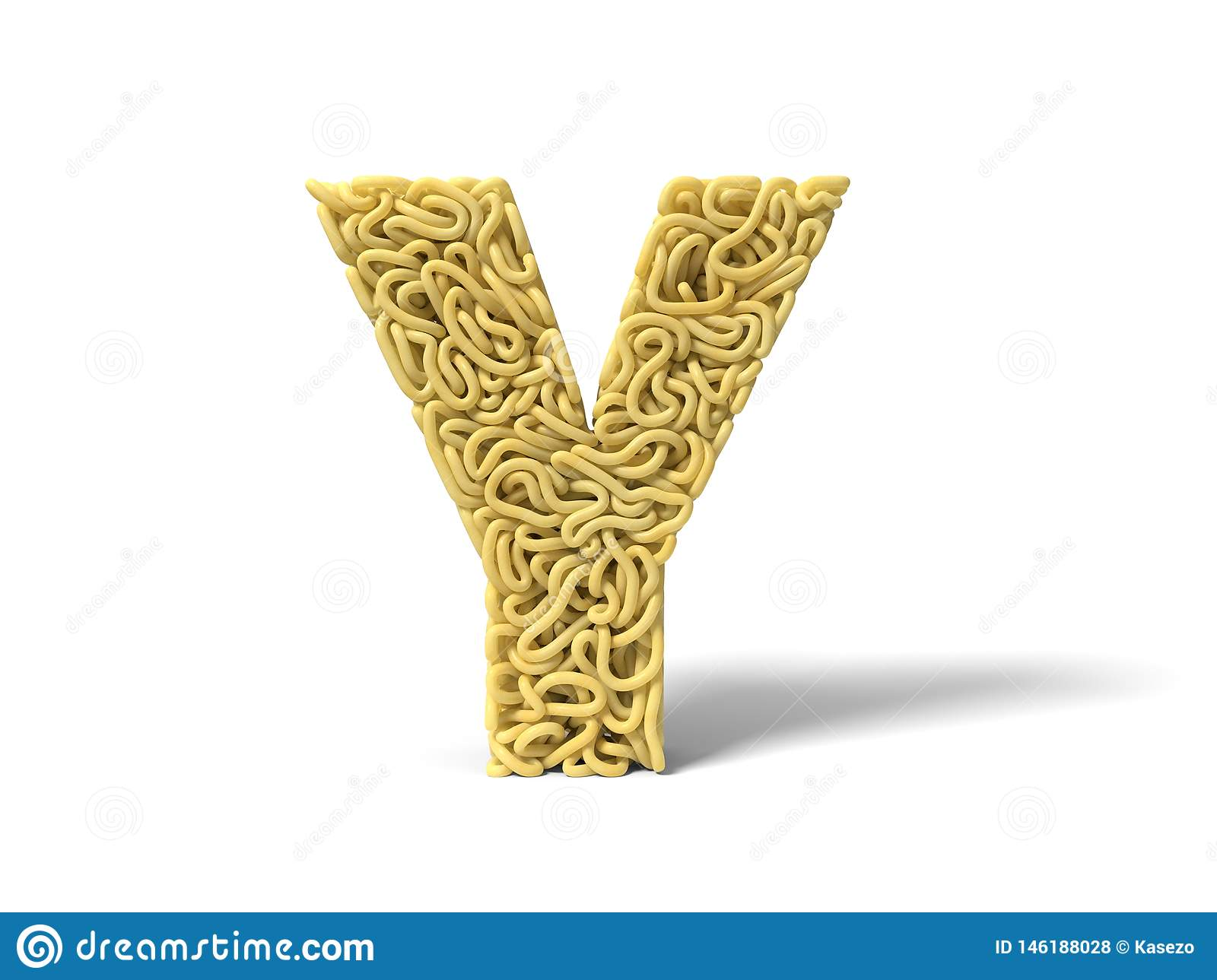 Noodle In Shape Of Y Letter Curly Spaghetti For Cooking