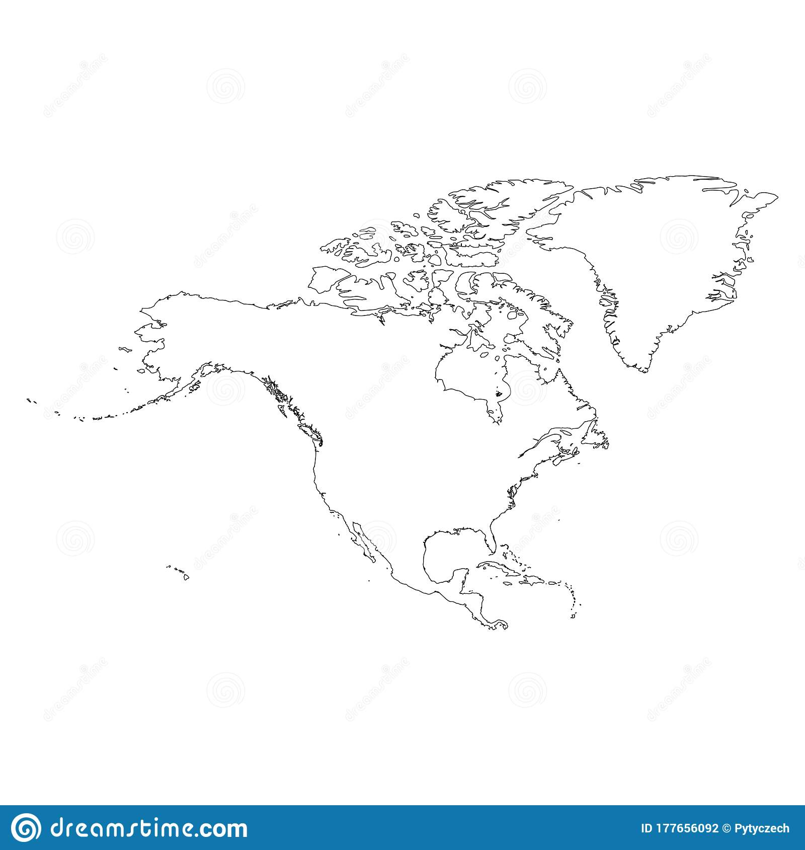 North America Thin Black Outline Map Contour Map Of