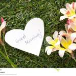 Note In Shape Of Heart With Words Good Morning Stock Photo Image Of Bell Morning 114376628