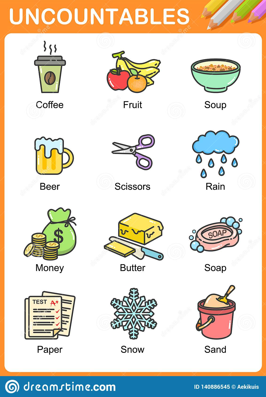 Nouns The Can Be Countable And Uncountable Stock Vector