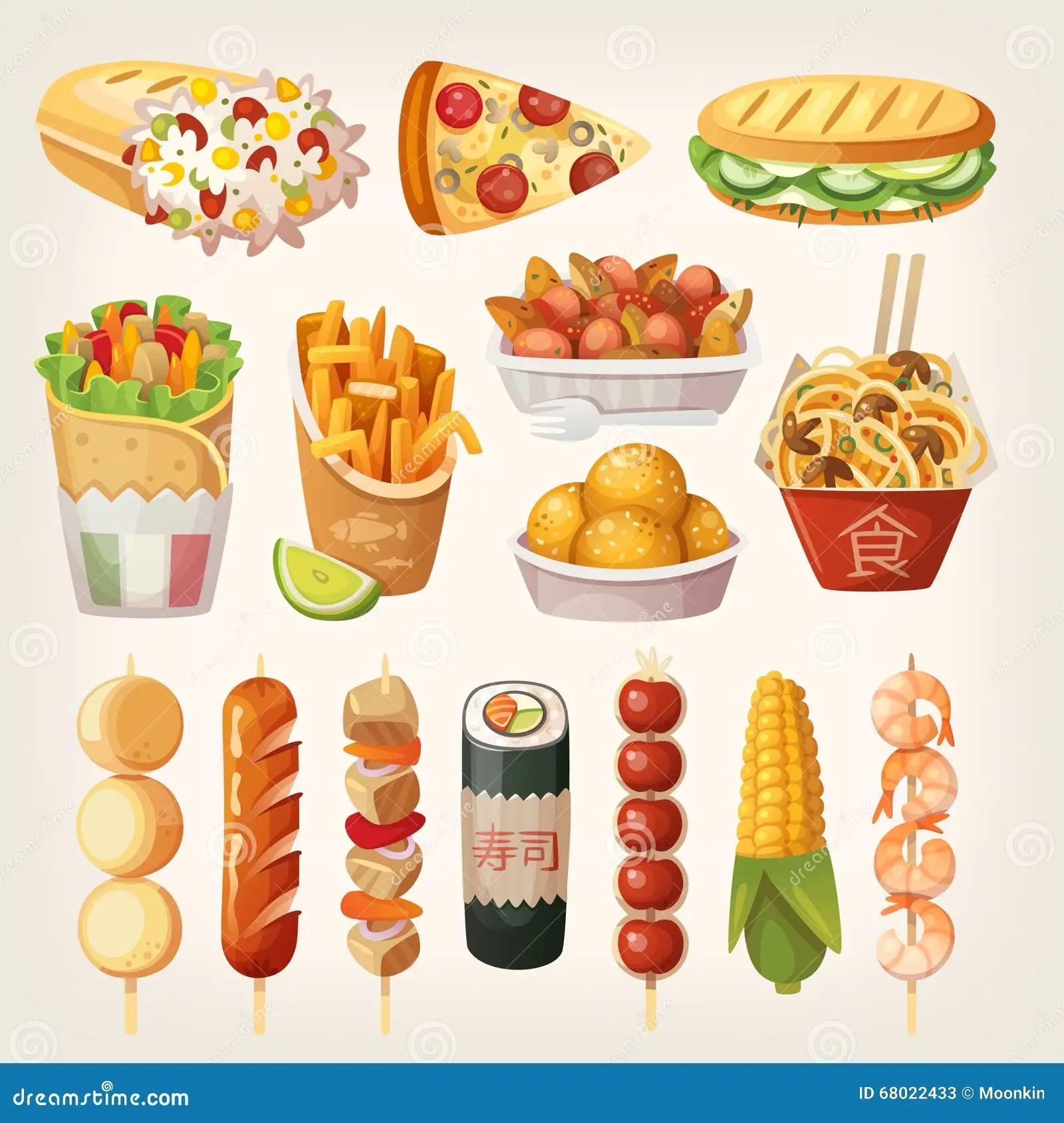 Nourriture De Rue De Differents Pays Du Monde Illustration