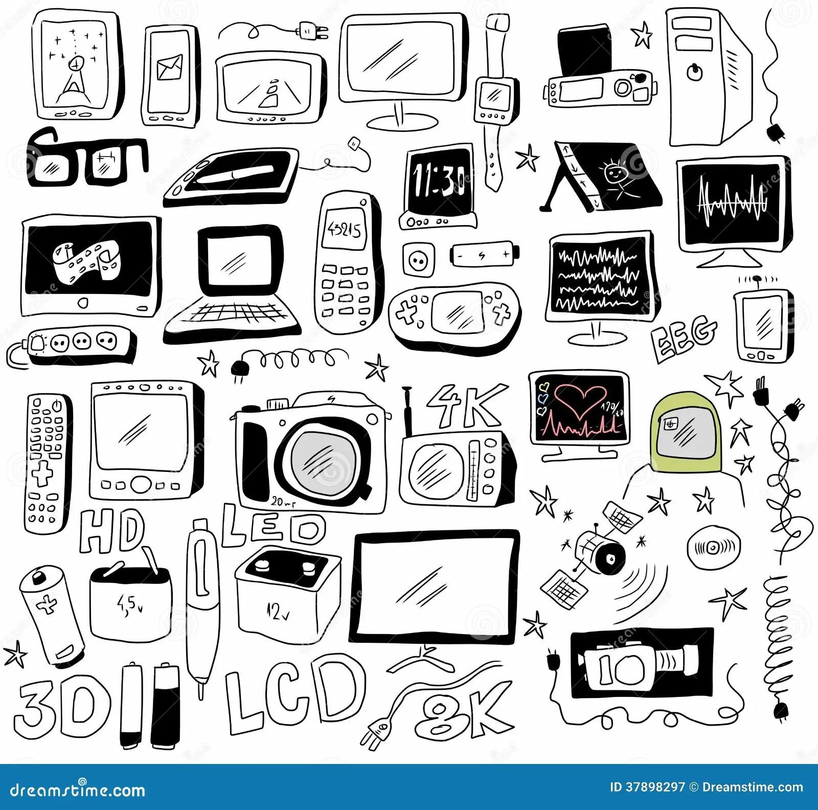 Nouvelle Technologie De Griffonnage Illustration Stock